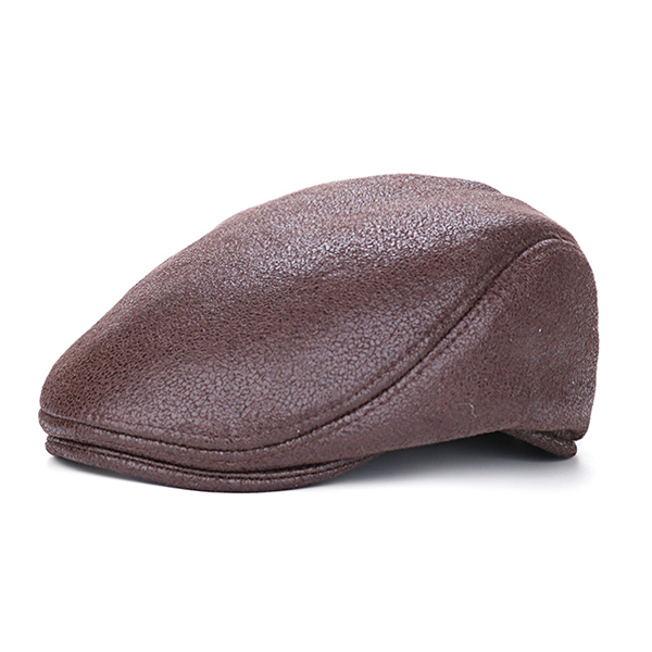 Men Vintage Artificial Leather Beret Cap Solid Casual Visor Winter Warm Gentleman Forward Hats