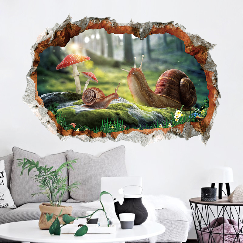 Miico 3D Creative PVC Wall Stickers Home Decor Mural Art Removable Snails Wall Decals