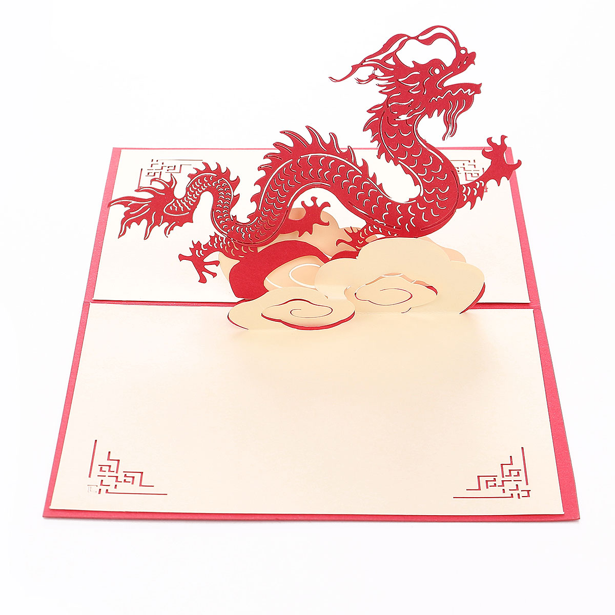 3D Pop-up Greeting Card Dragon Chinese Characteristics Style Birthday Happy New Year Card Gift Red