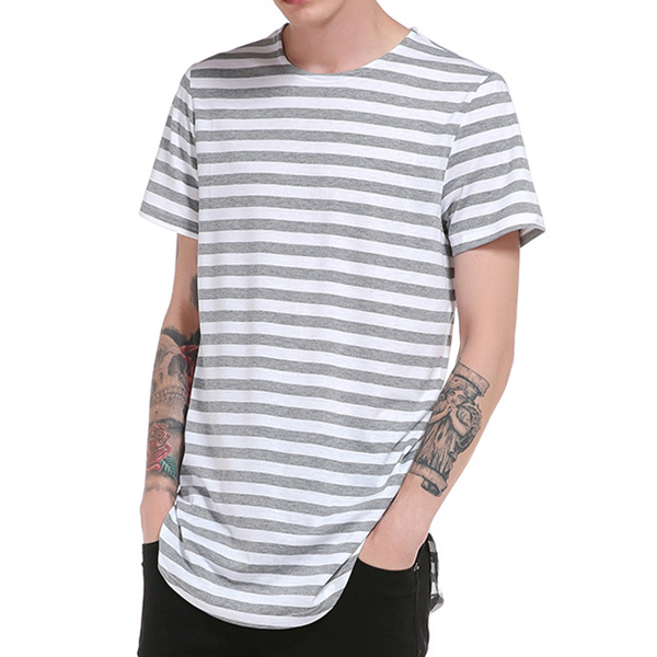 Summer Mens Hip-Hop Striped Printed T-shirt Long Hem O-neck Short Sleeve Casual Cotton Tops Tees