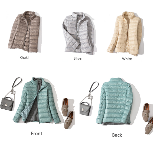 Pure Color Zipper Down Coats