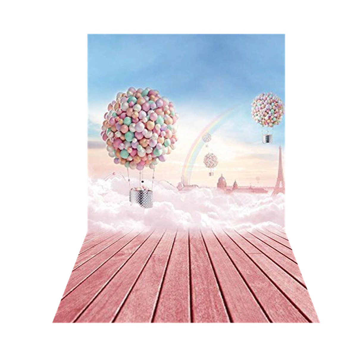 Hot-air Balloon Romantic Pink Theme Photography Vinyl Backdrop Studio Background 2.1m x 1.5m