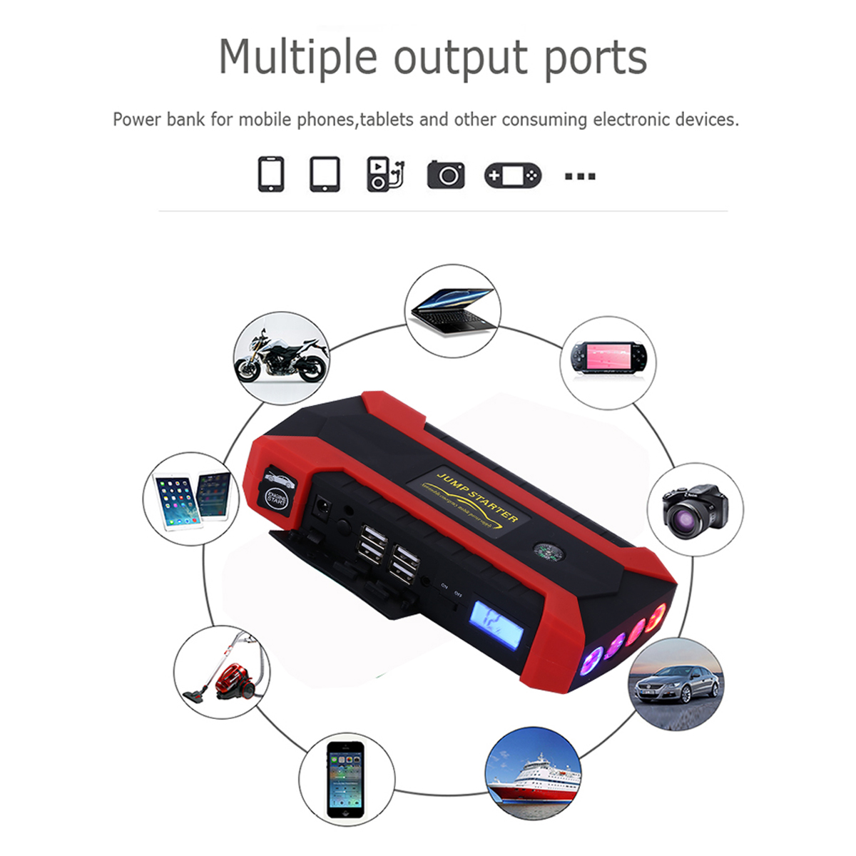 16000mAh 12V 4 USB Car Jump Starter Pack Booster Charger Battery Power Bank Kit