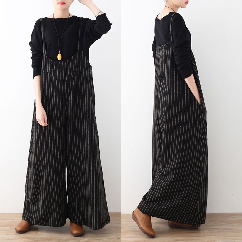 Plus Size Casual Women Stripe Wide Leg Pants Playsuits