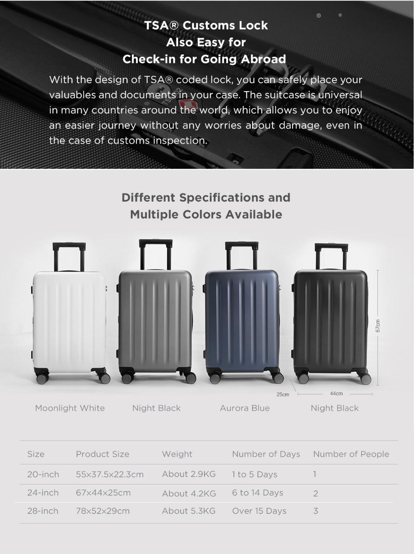 Original Xiaomi 90FUN 20inch 24 inch Travel Luggage 100% PC Suitcase Spinner Wheel Carry on Storage Case