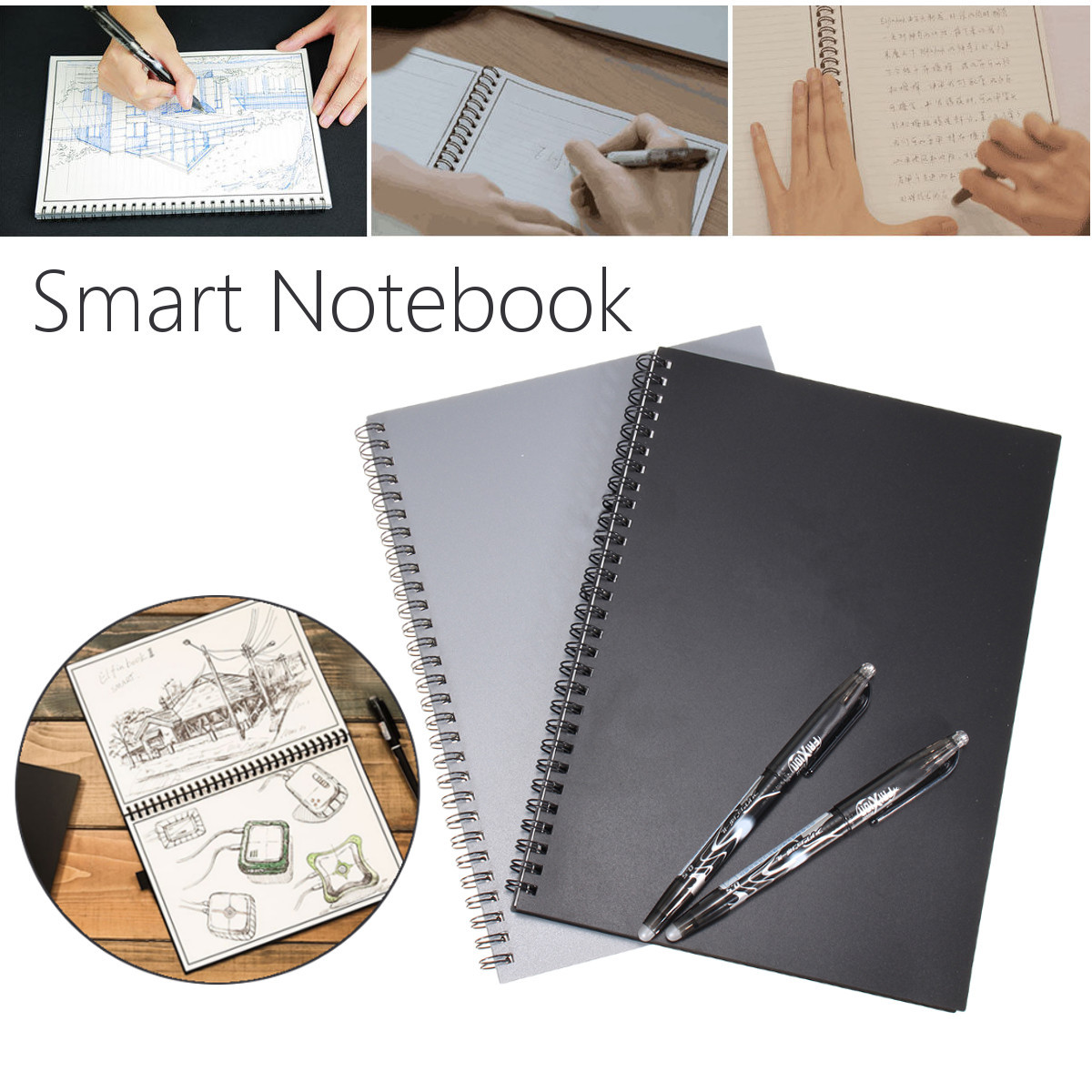 Elfinbook Reusable Erasable Notebook Microwave Wave Cloud Flash Storage Notepad With Writing Pen
