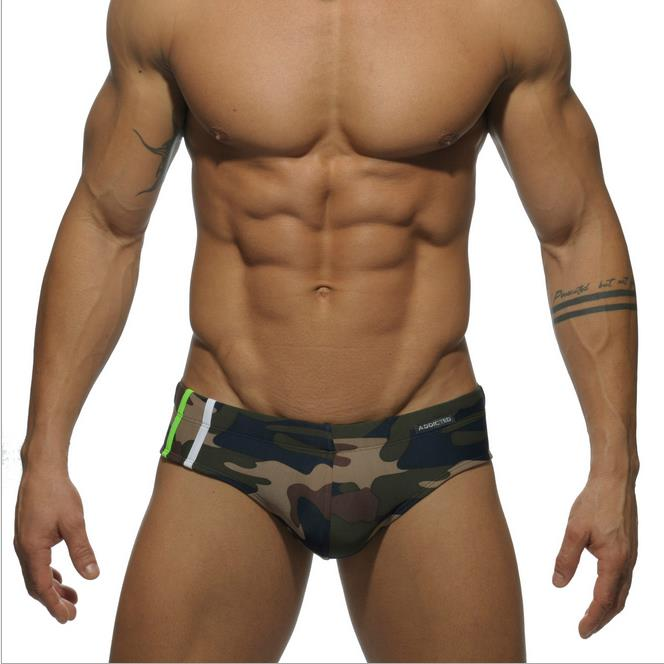 Addicted 9 Colors Sex Gay Mens Swimwear Men Elastic Swimsuit Man Quick Dry Swimming Trunks