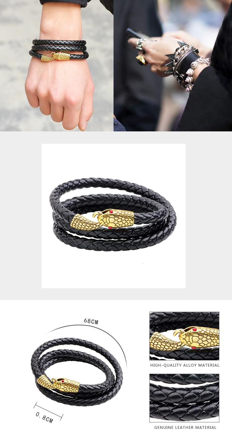 Men's Alloy Snake Head Multilayer Punk Leather Bracelet