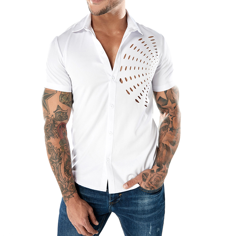 Fashion Fan-shaped Hollow Designer Shirts for Men
