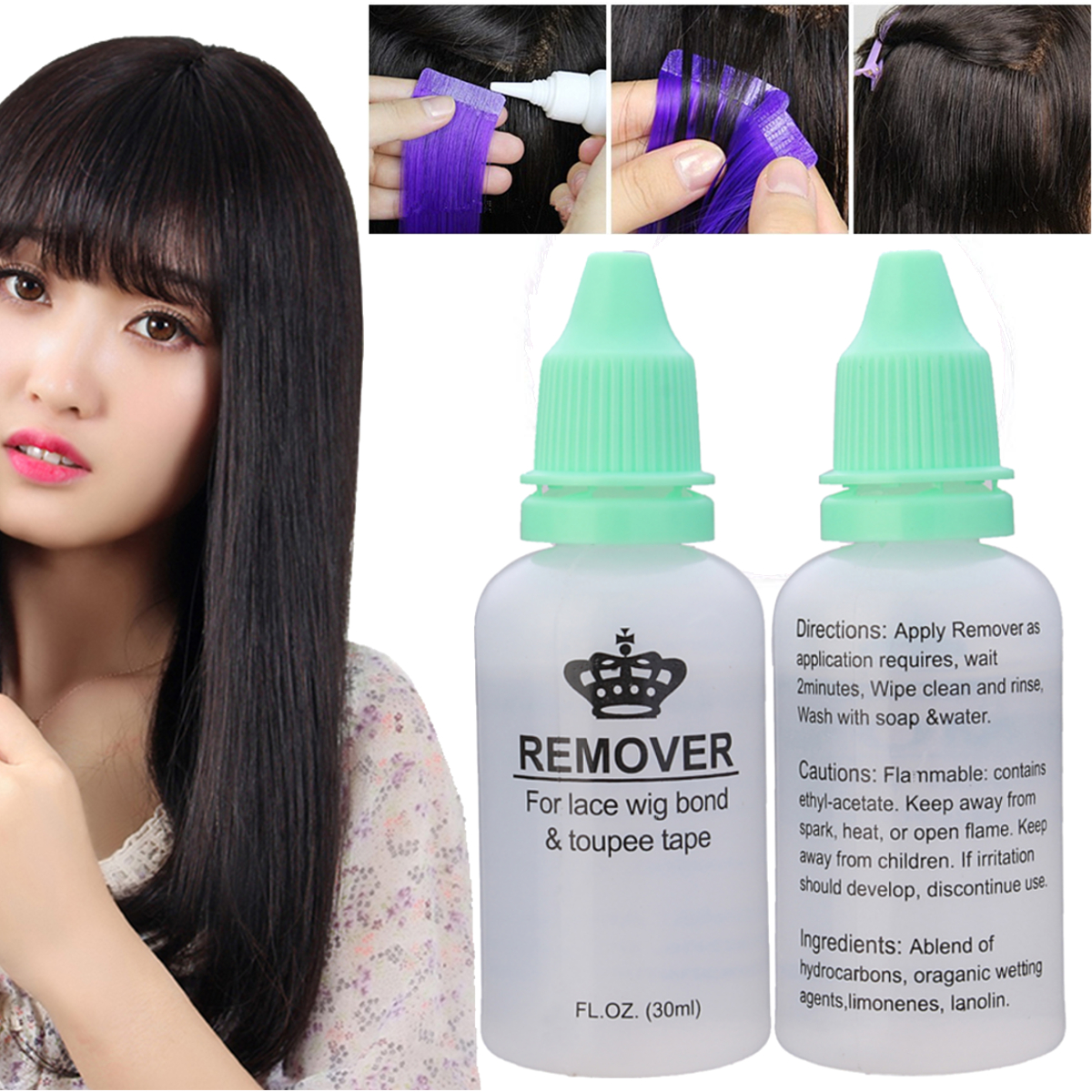 30ml Lace Wig Adhesive Glue Bond Remover Skin Tape Hair Extensions Tool