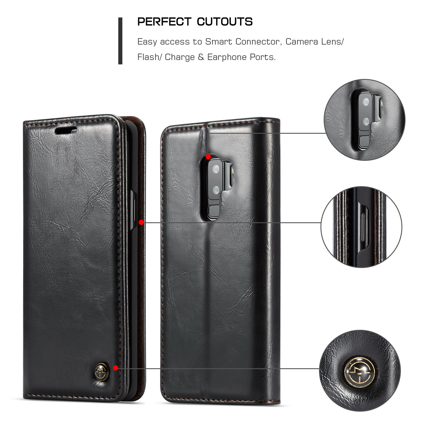 Caseme Wallet Kickstand Protective Case For Samsung Galaxy S9 Plus Magnetic Flip Card Slots