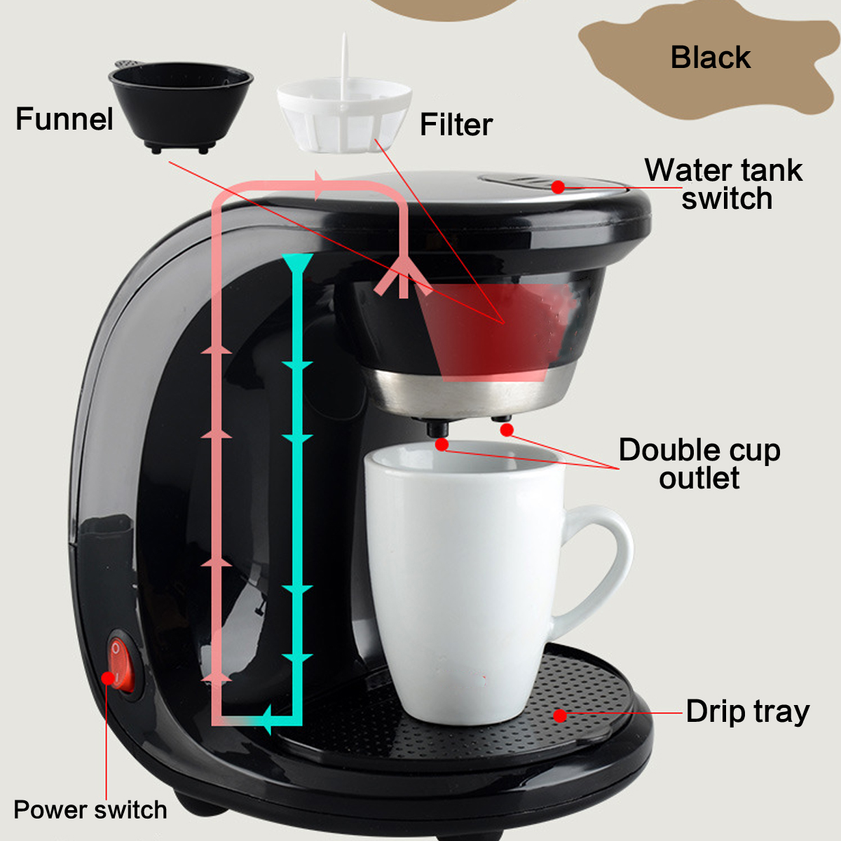 Electric Automatic Steam Drip Coffee Maker 2 Cups Coffee Machine Espresso 500W