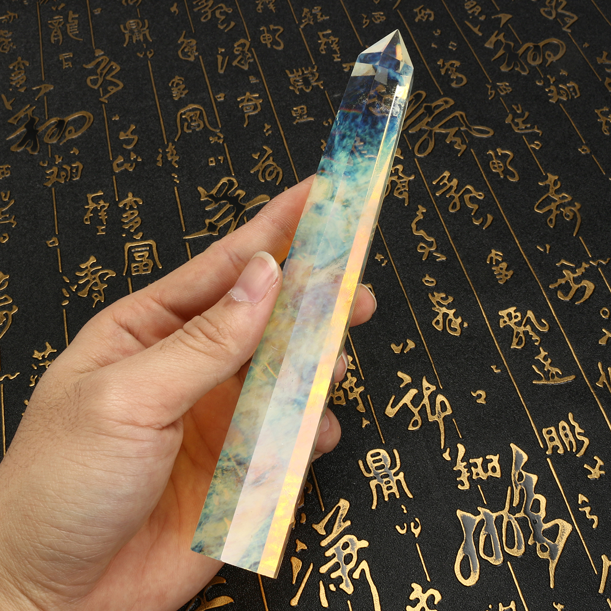 200mm Natural Asian Rare Citrine Quartz Crystal Hexagonal Wand Point Healing Decorations Gift