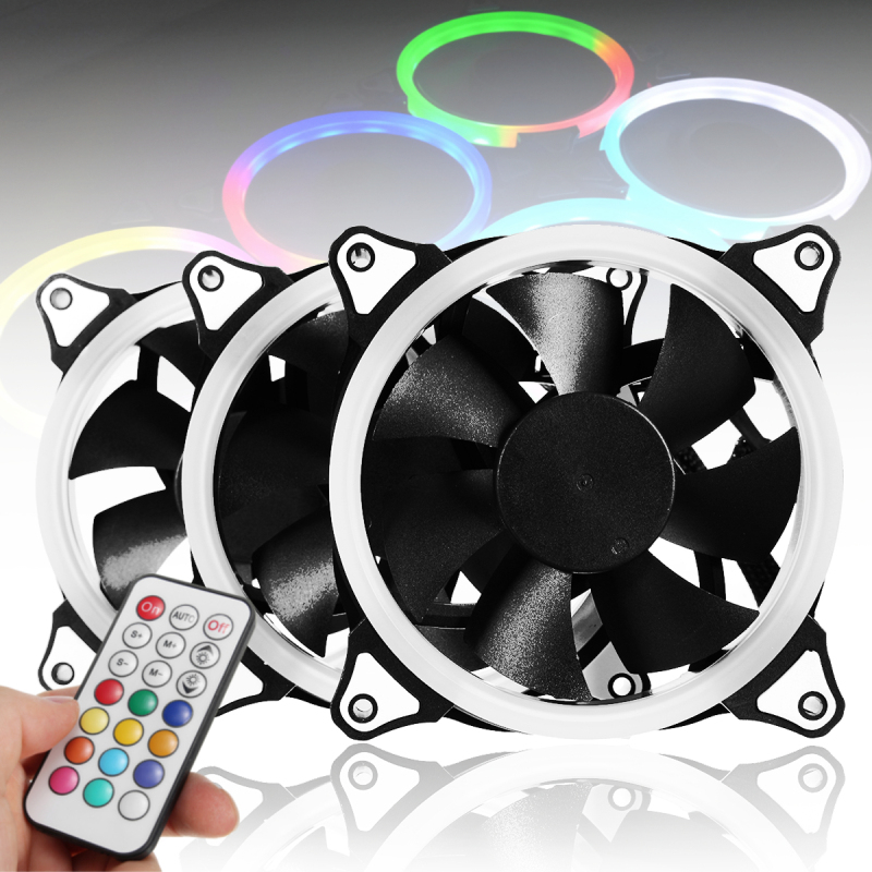 3pcs 12V 120mm RGB LED Fan CPU Coolers Radiators PC Cooling Fan for Computer Cases With IR Remote