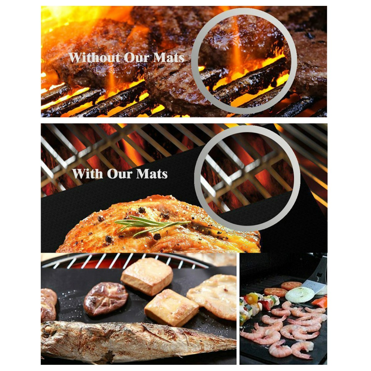 IPRee® 3-5Pcs Copper Chef Grill Bake Mats Non-Stick Picnic BBQ Roasting Glass Fiber Pad