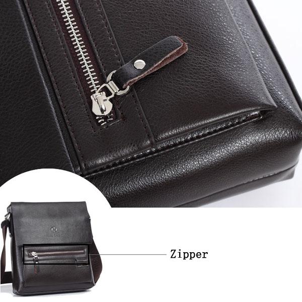Men Genuine Real Leather Business Casual Laptop Shoulder Crossbody Bag