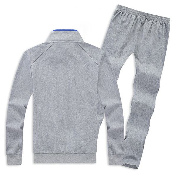 Mens Casual Plus Size Solid Color Tracksuits Stand Collar Cotton Sport Suits