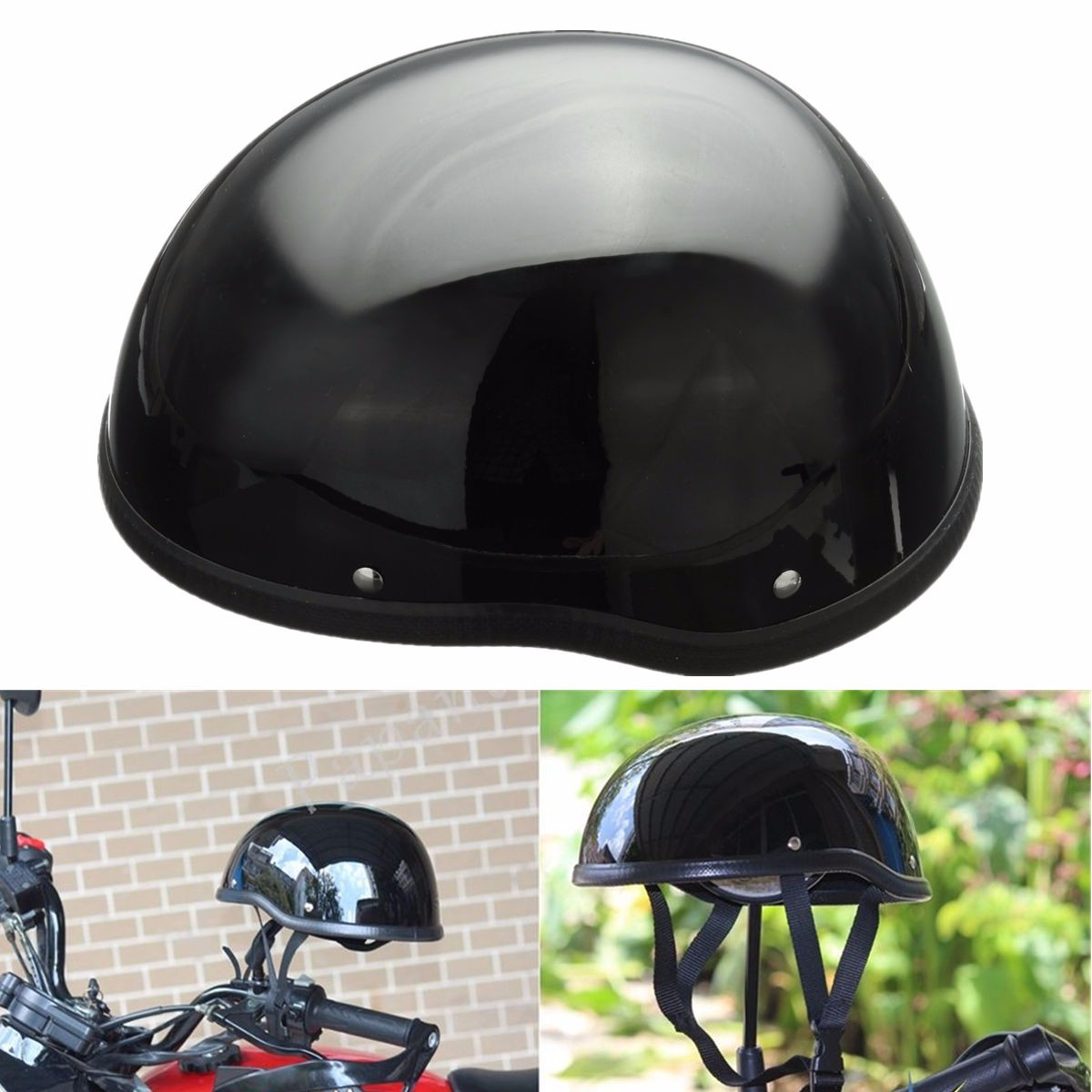 Black Vintage Safety Half Helmet Motorcycle Bike Cruiser Open Face Cap