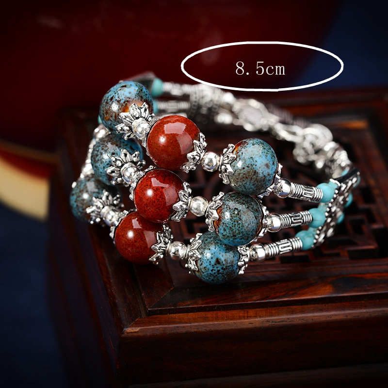 Ethnic Style Multilayer Chain Ceramic Leaves Tassel Bracelet for Women