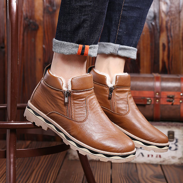Men Zipper Warm Fur Lining Ankle Leather Boots