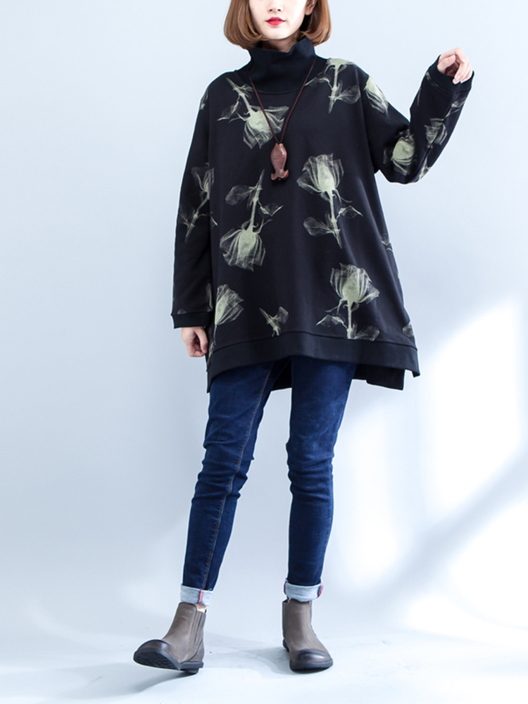 Casual Women High Collar Printed Sweatshirts