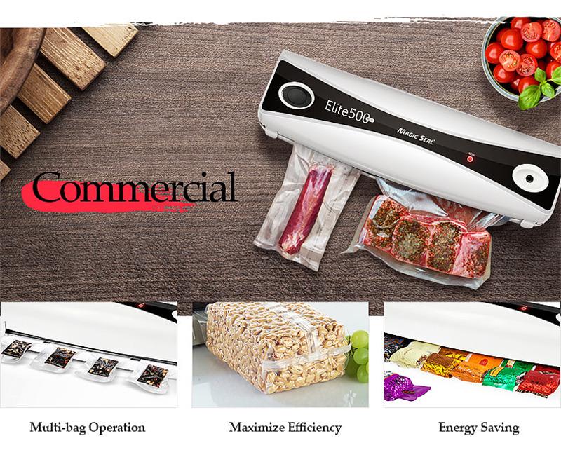 MAGIC SEAL Elite500+ Household Food Vacuum Sealer Packaging Machine Home Food Preservation Tools Including 10Pcs Bags