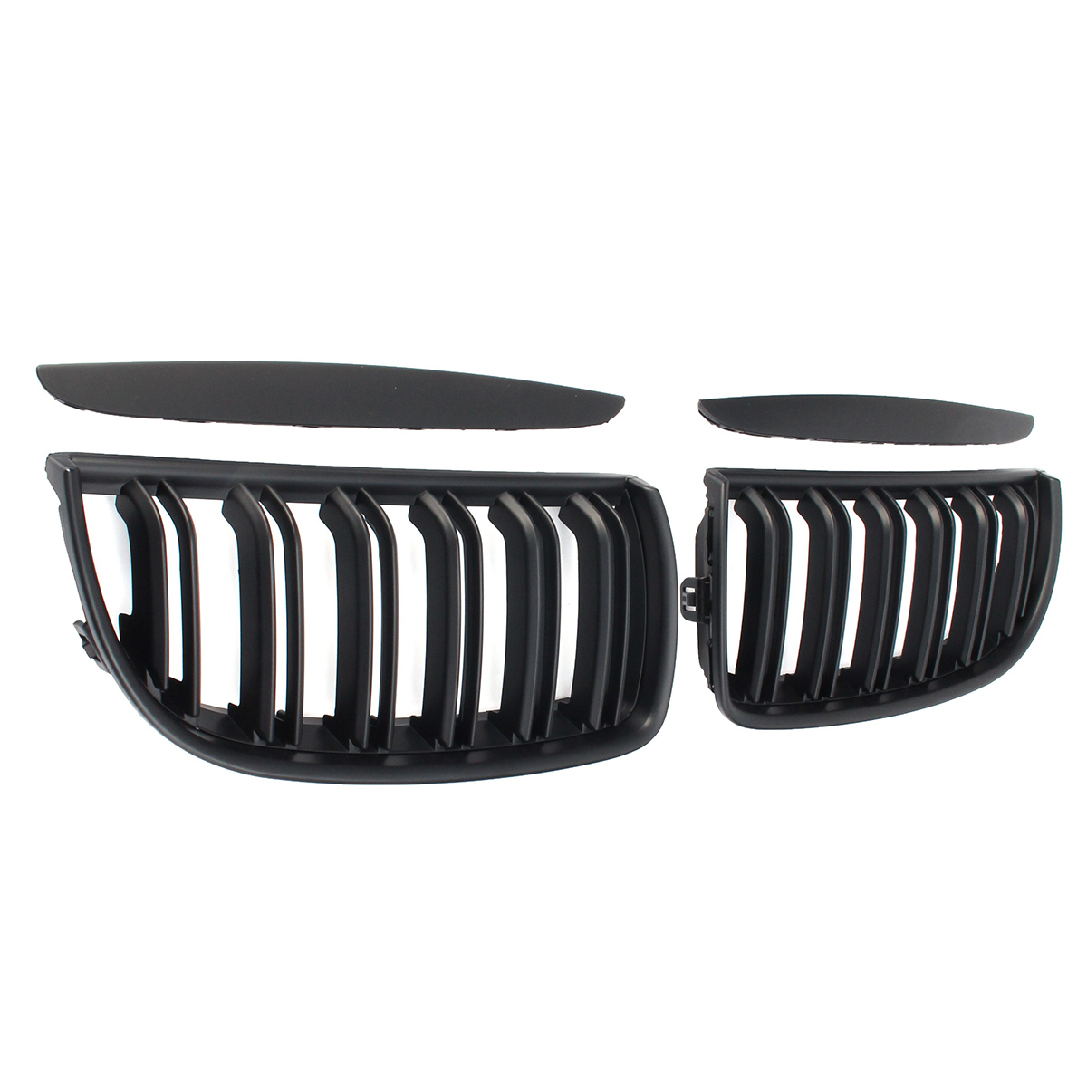 One Pair Car Matt Black Front Kidney Double Slat Grille Set For BMW E90 E91 2005-2008