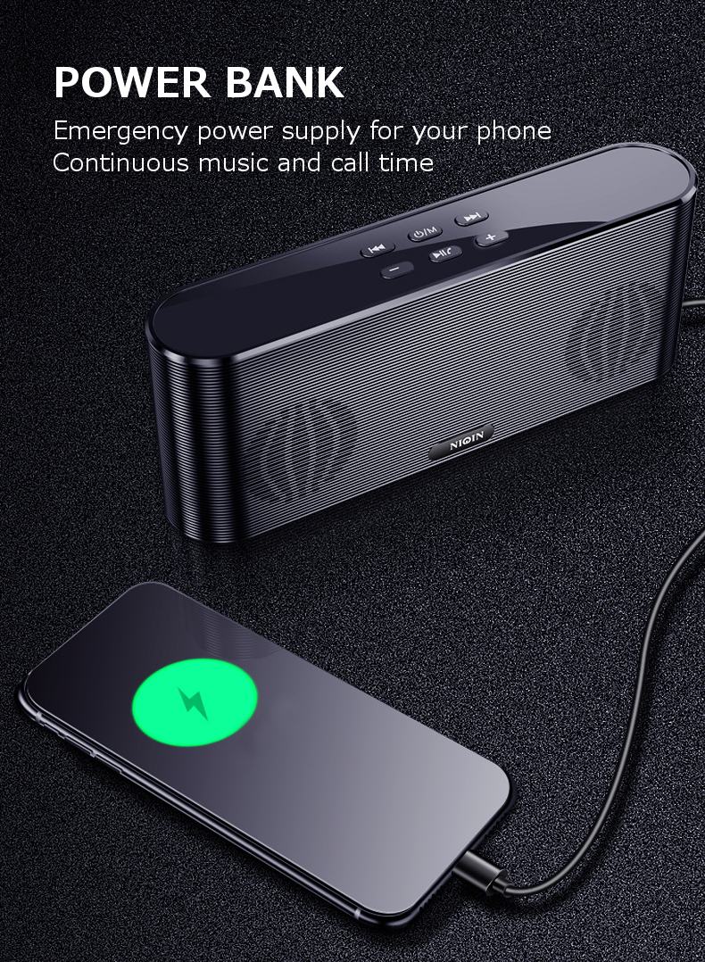 NIQIN Q6 2 In 1 6000mAh Power Bank bluetooth Speaker Dual Drivers Heavy Bass Stereo TF Card AUX