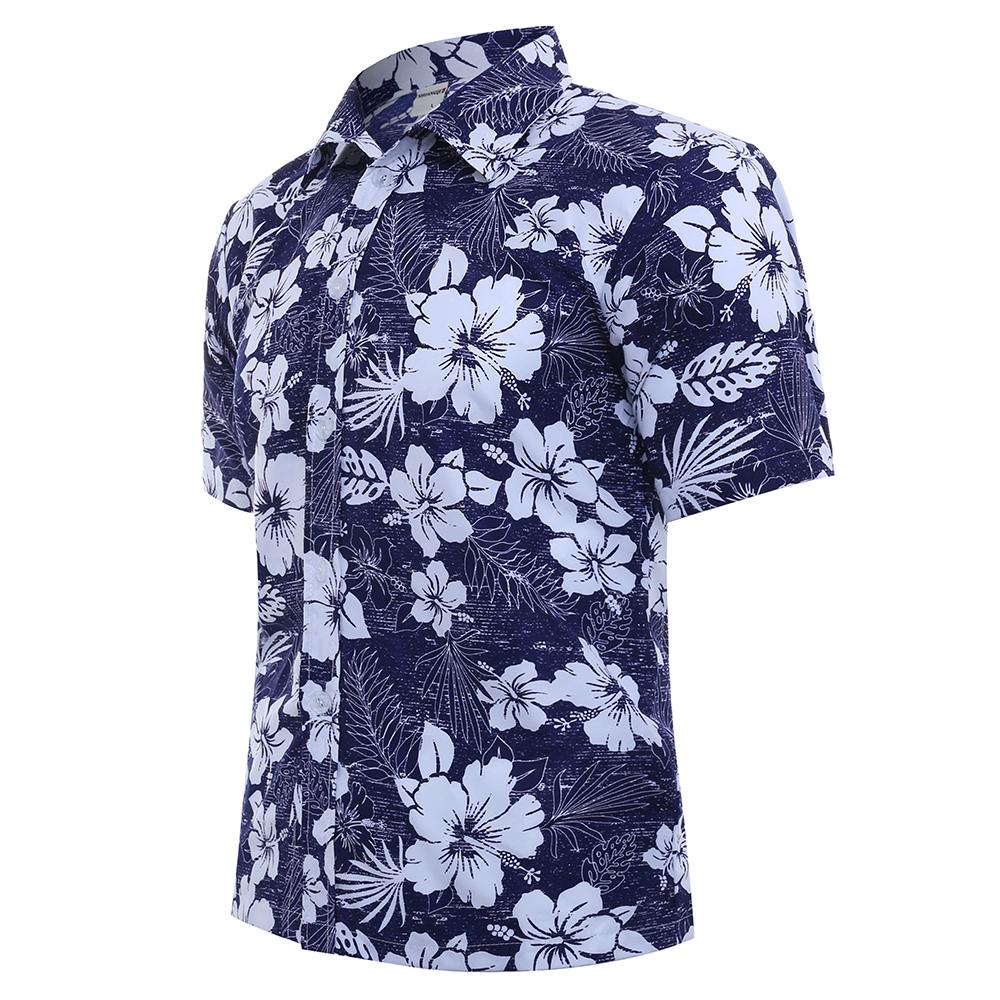 Mens Summer Hawaiian Style Beach Floral Printing Shirts