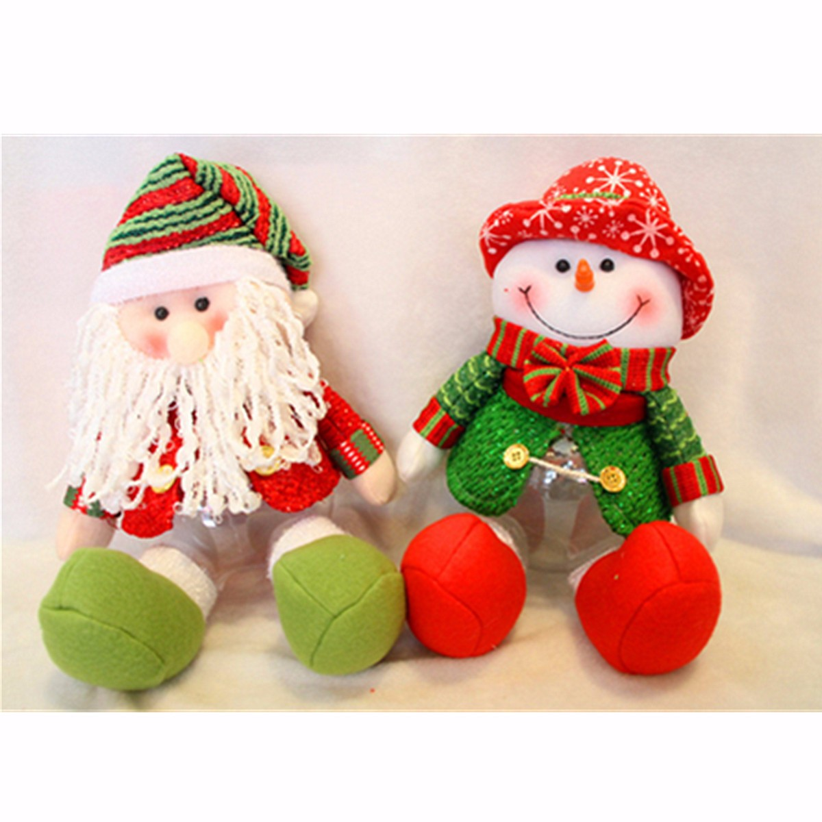 Lovely Snowman Santa Claus Candy Round Jar Bottle Christmas Kid Toy Doll Gift Decor