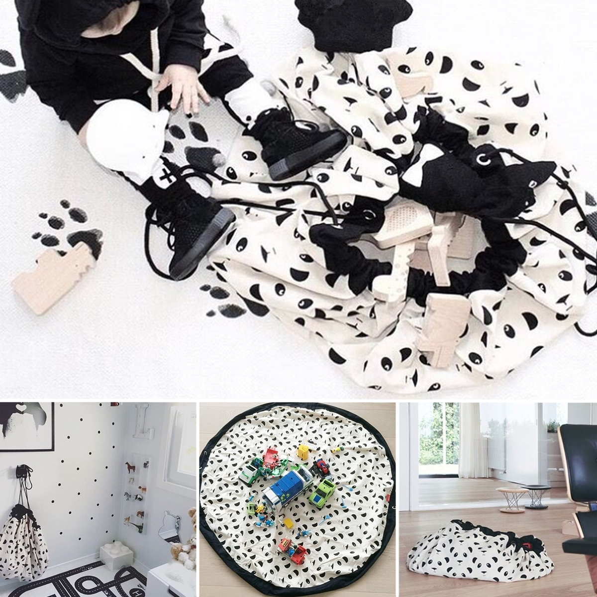 140cm Canvas Portable Baby Kids Toy Large Storage Bags Play Mat Toys Organizer Rug Box