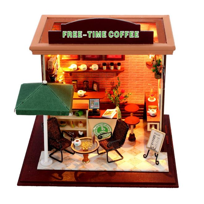 Hoomeda DIY Wood Dollhouse Miniature With LED Furniture Cover Free Time Coffee