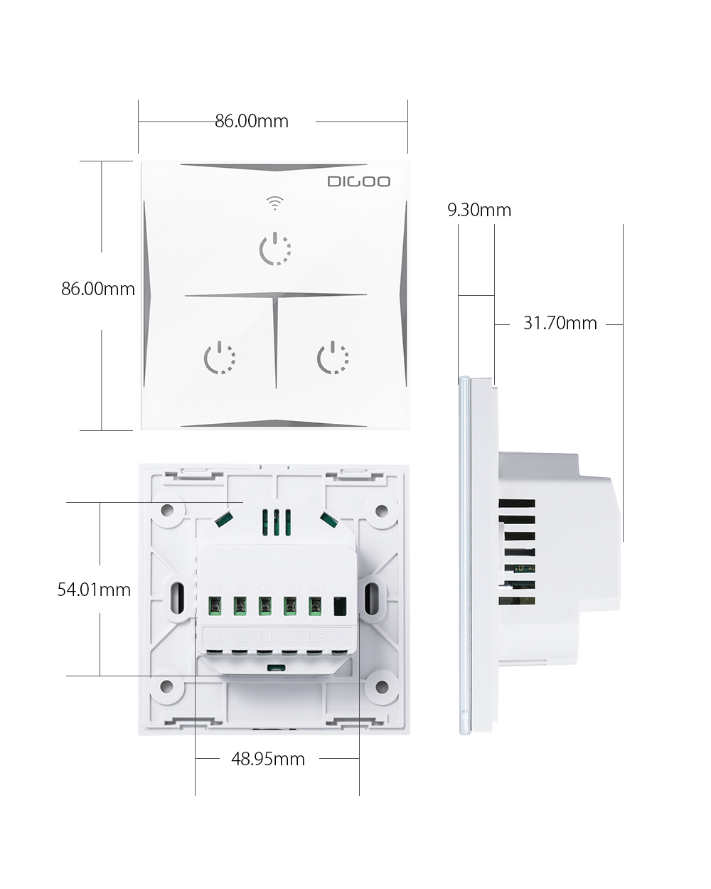 DIGOO DG-S601 EU AC 100V-240V 3 Gang Smart WIFI Wall Touch Light Switch Glass Panel Remote Controller Work with Amazon Alexa Google Assistant