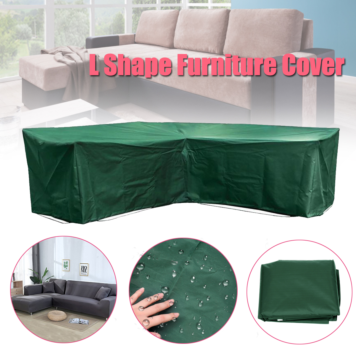 Garden Outdoor Furniture Corner Rattan L Shape Slipcover Waterproof Sofa Sectional Cover