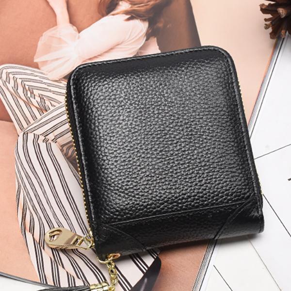 RFID Women Genuine Leather Bifold Short Wallet