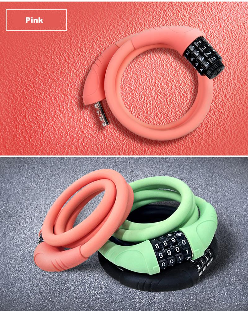 SAHOO Bicycle Lock Silicone Cable Lock Ring Type Anti theft Wear Resistant Locking Password Lock