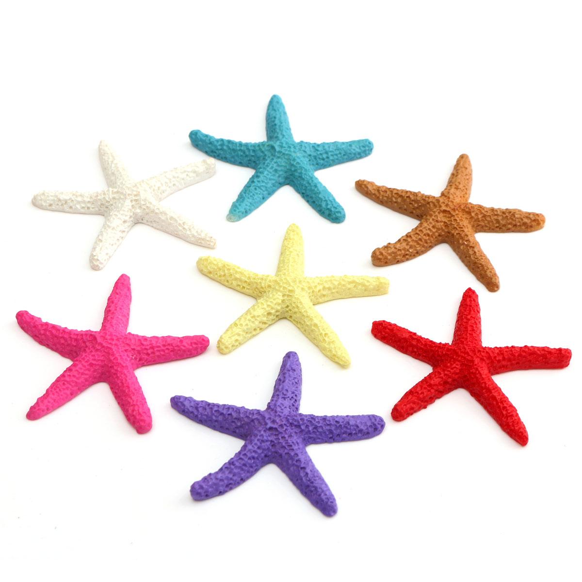 7pcs 5.5cm Mediterranean Style Colorful Mini Starfish Ornament Potted Craft Home Garden Decor 1pcs