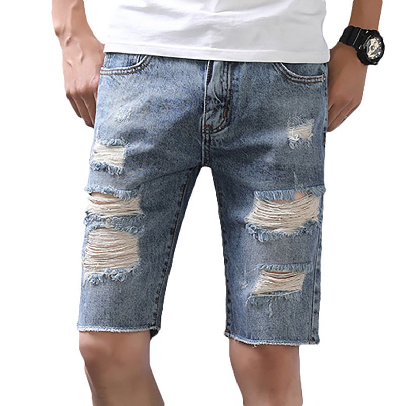 Fashion Holes Ripped Jeans Summer Slim Shredded Jeans