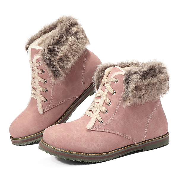 Women Winter Snow Boots Fur Lining Lace Up Ankle Boots US Size 5-12