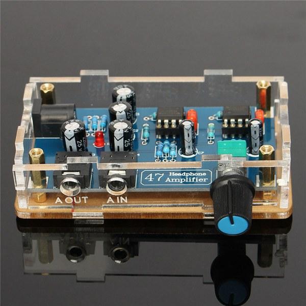 DIY HIFI Headphone Amplifier Single Power Supply PCB AMP Kit With Transparent Housing