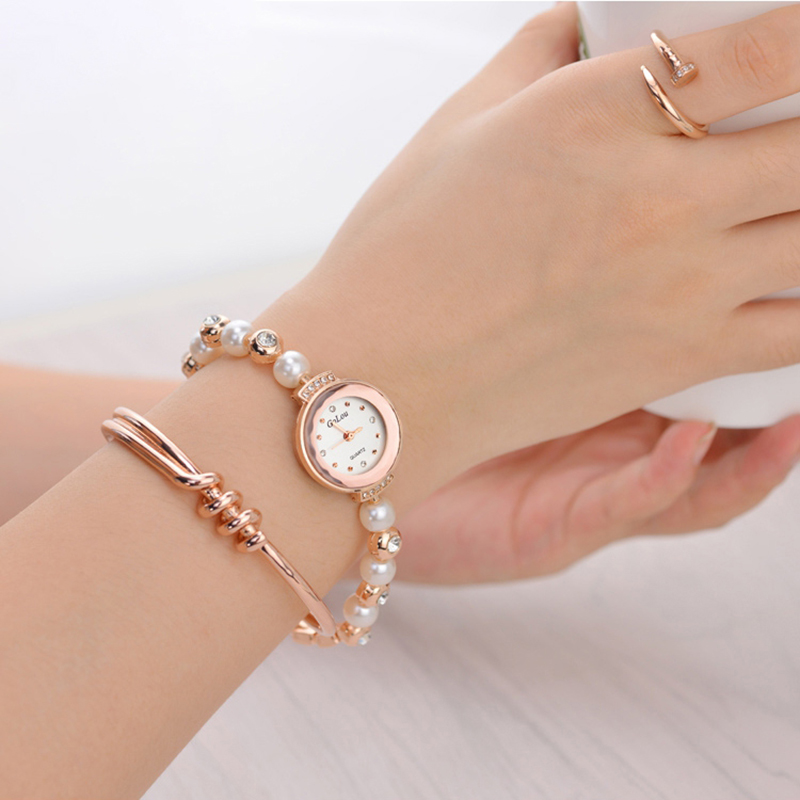 Fashion Diamond Elegant Pearl Bracelet Watch Quartz Watch