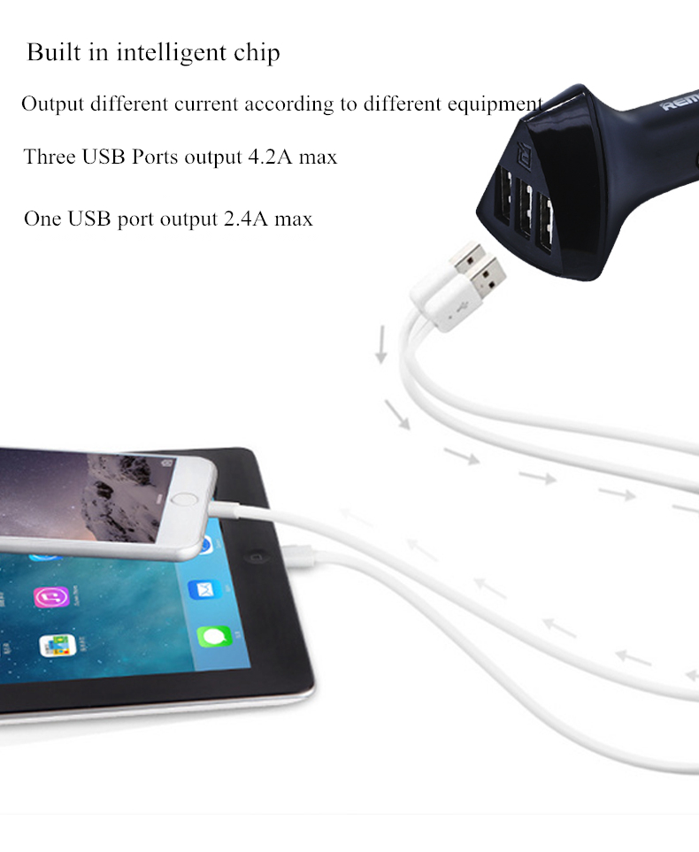 Remax Aliens 3 USB Ports 4.2A Intelligence Car Charger For Smartphone Tablet Powerbank GPS