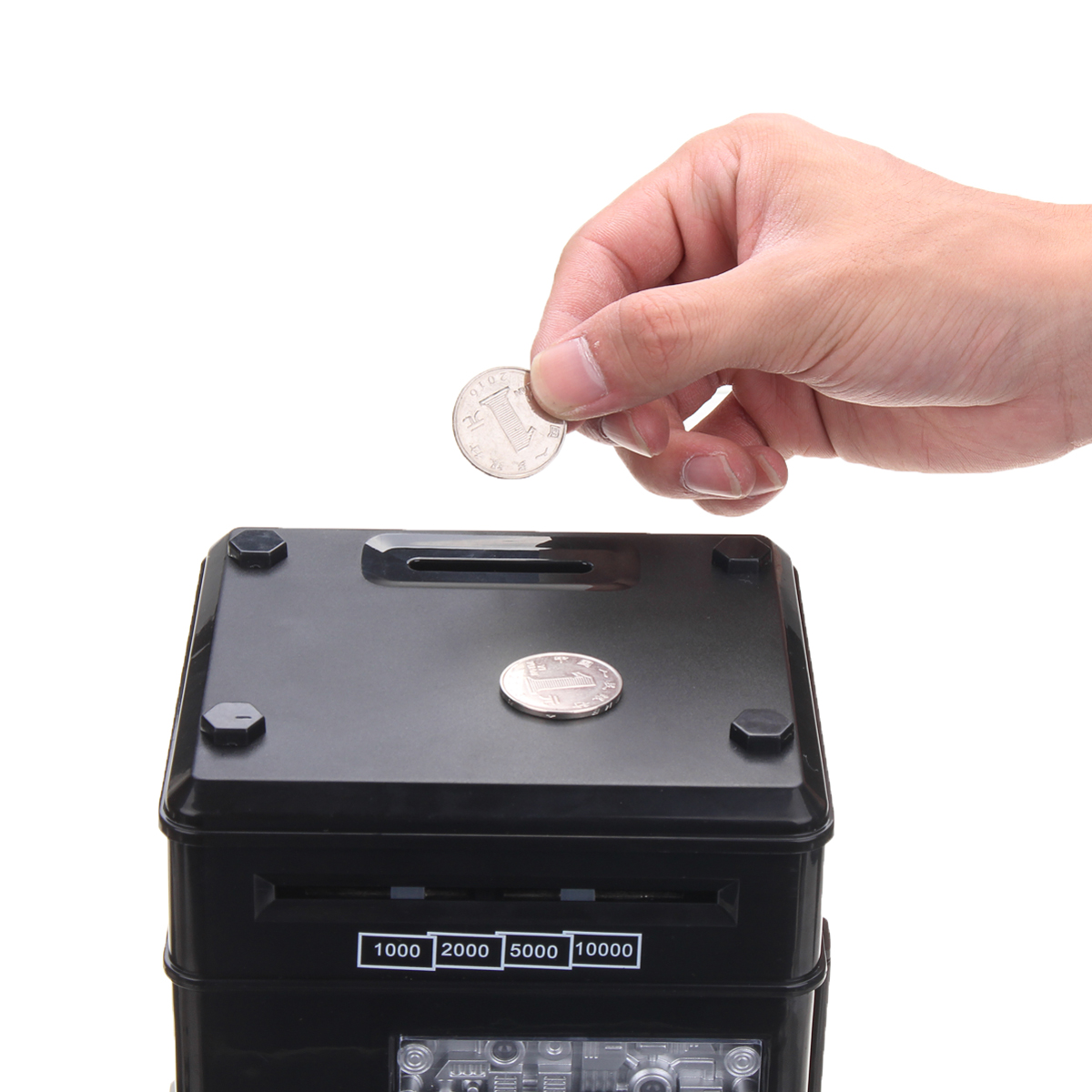 Code Key Lock Piggy Bank Coins Cash Saving Money Box Counter Mini Safe Box Gift For Children