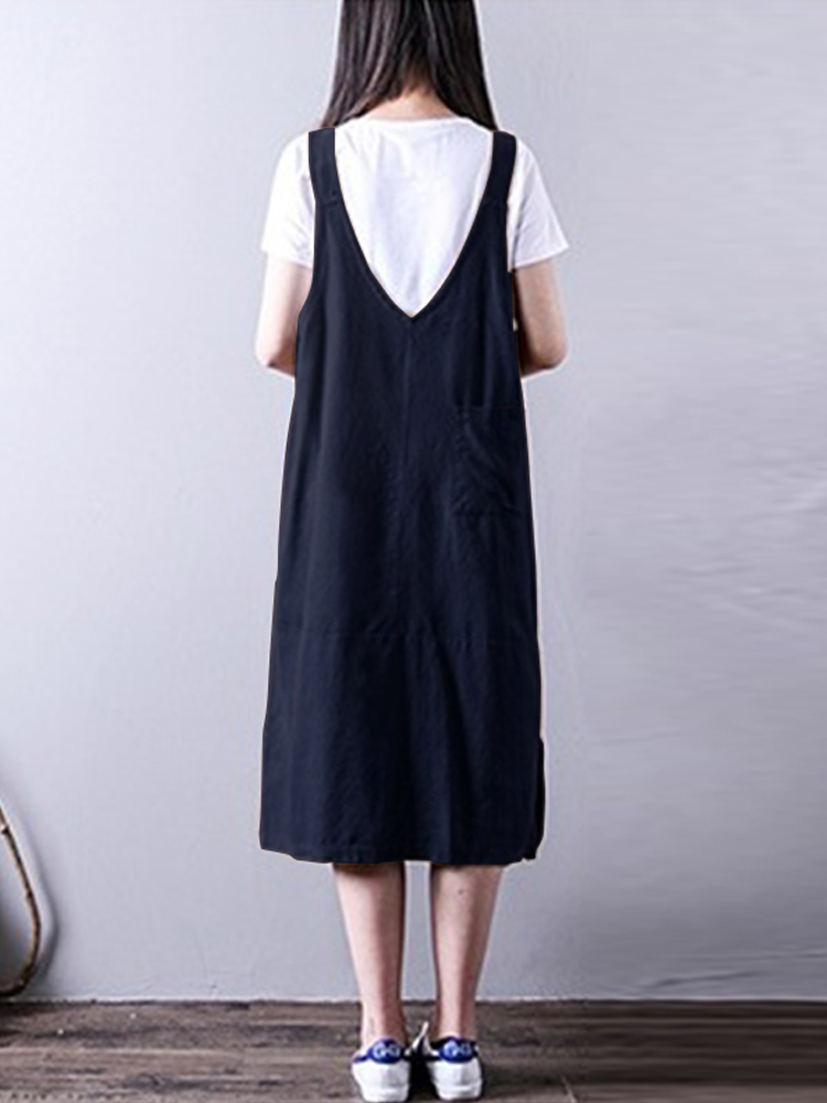 Women Vintage Sleeveless Straps Casual Loose Cotton Dress