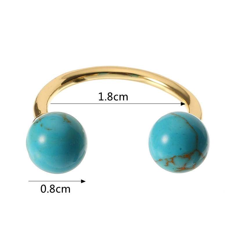JASSY® Fashion Turquoise Open Ring Bohemian Women 18K Gold Plated Black White Blue Anallergic Gift