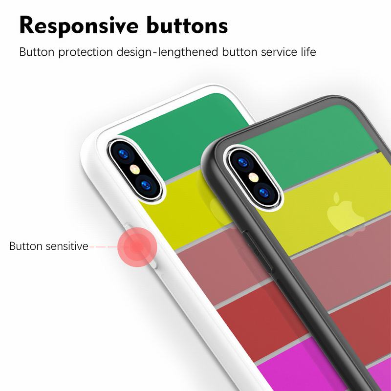 Bakeey Rainbow Scratch Resistant Tempered Glass Back Cover TPU Frame Protective Case For iPhone X