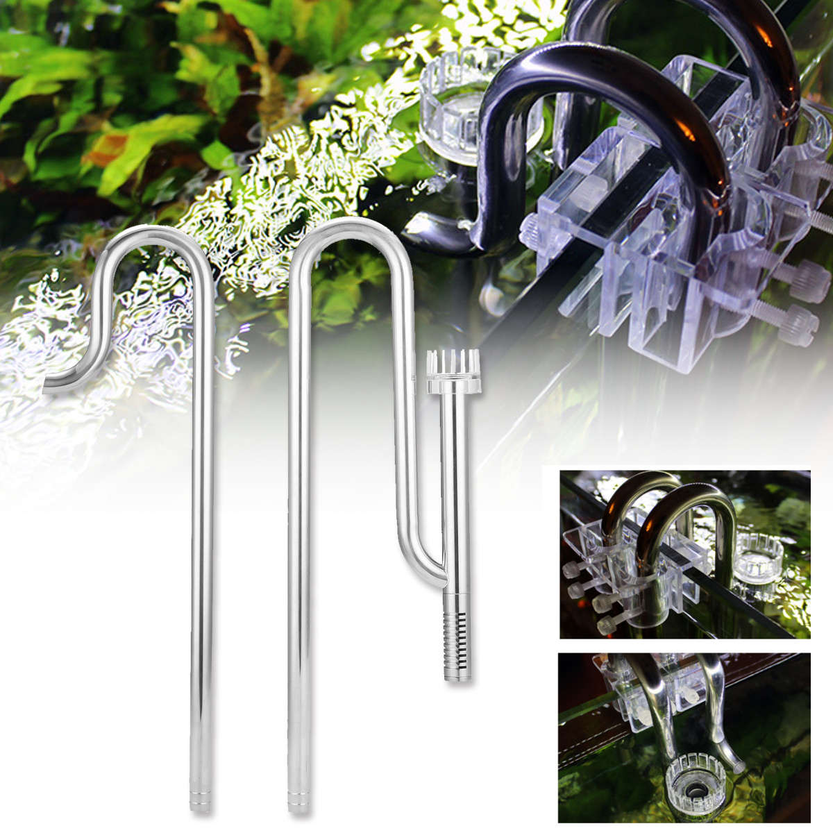 Aquarium Water Surface Skimmer Filter Tube Stainless Steel Inflow Outflow Water Pipe