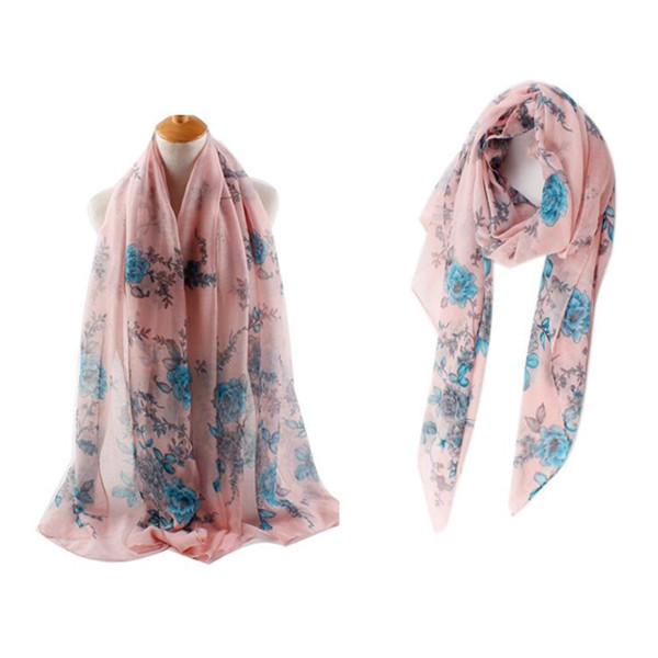 Women Ladies Rose Flower Printing Voile Scarves Outdoor Sunscreen Warm Scarf Beach Shawl