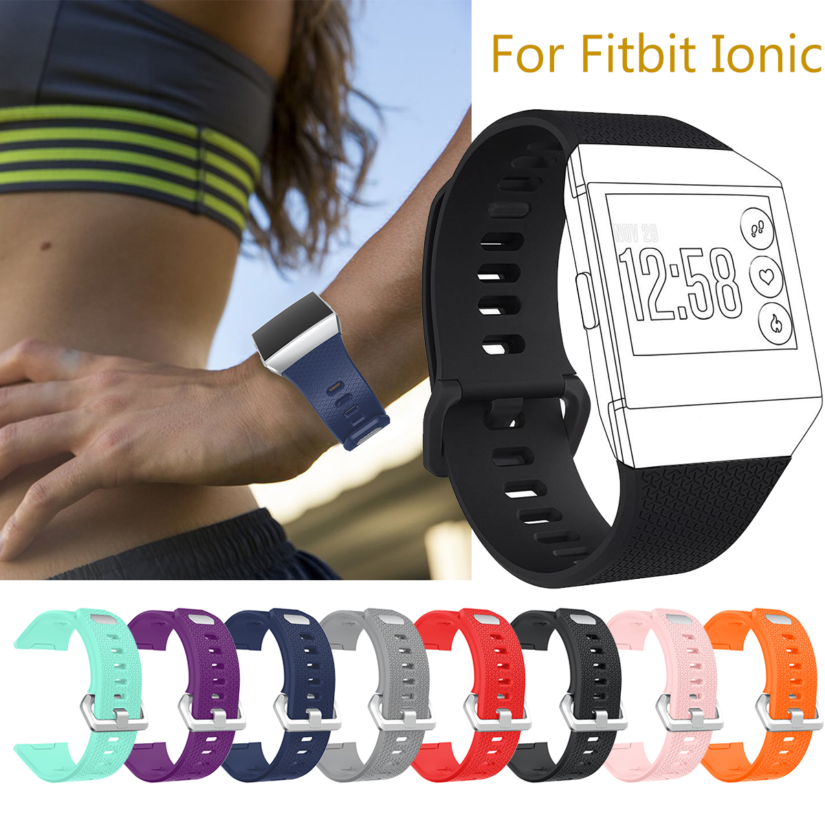 Soft Silicone Wrist Sport Watch Strap Bracelet Band Replacement For Fitbit Ionic