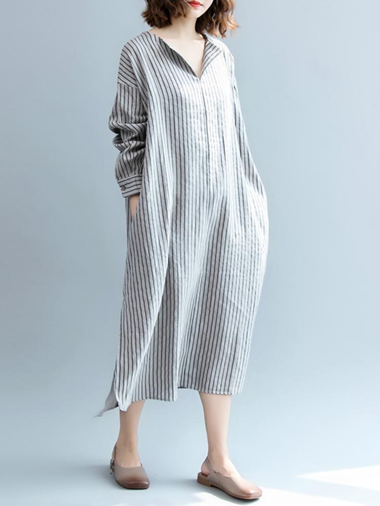 Plus Size Women Casual Long Sleeve Side Split Stripe Dress